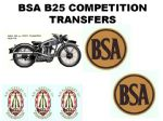 BSA B25 Competition Transfer Decal Set DBSA194